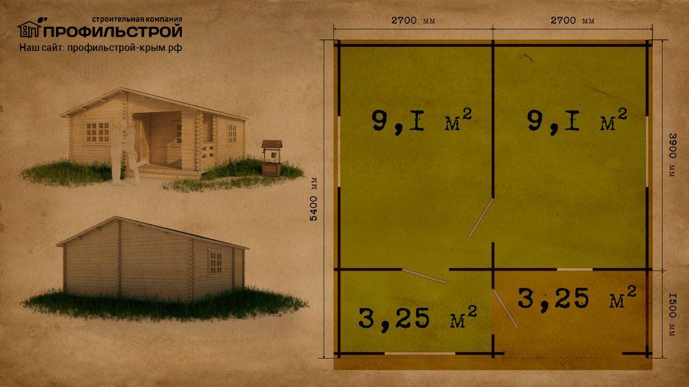 Дачный дом 5.4×5.4 м с верандой