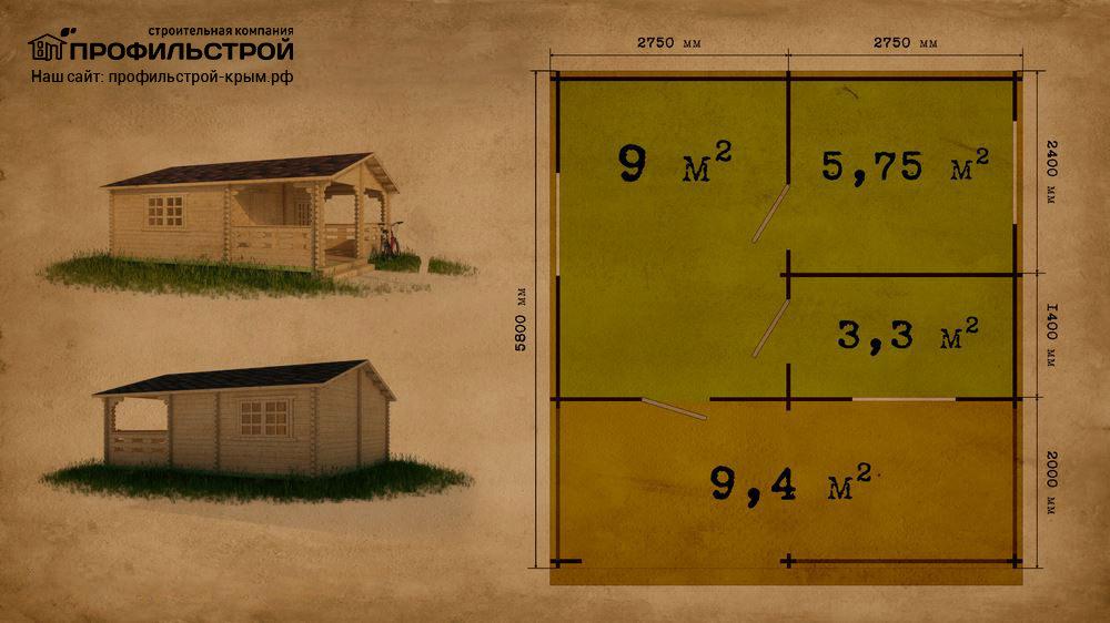Дачный дом 5.5×5.8 м с верандой