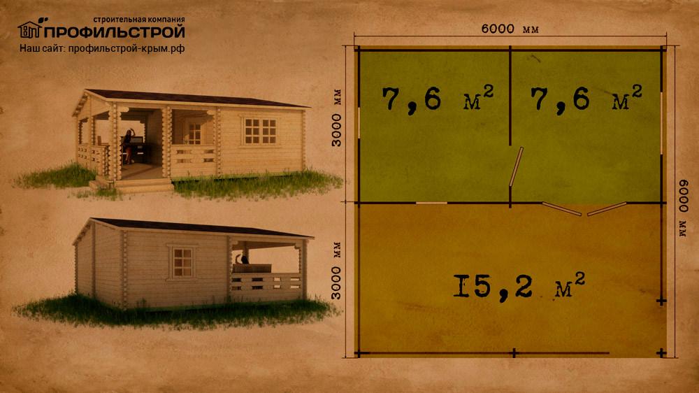 Дачный дом 5.8×6 м с верандой