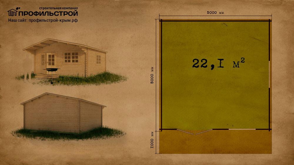 Дачный дом 5×5 м с навесом