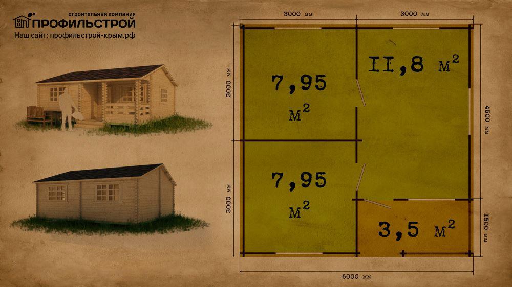 Дачный дом 6×6 м с верандой 27.7 м<sup>2</sup>
