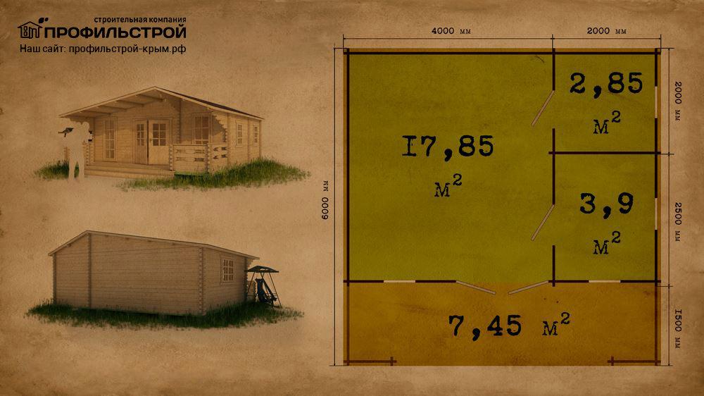 Дачный дом 6×6 м с верандой 24.6 м<sup>2</sup>