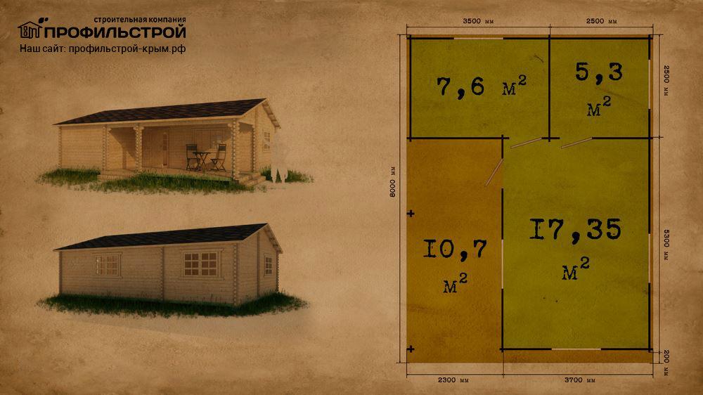 Дачный дом 6х7.8 с верандой