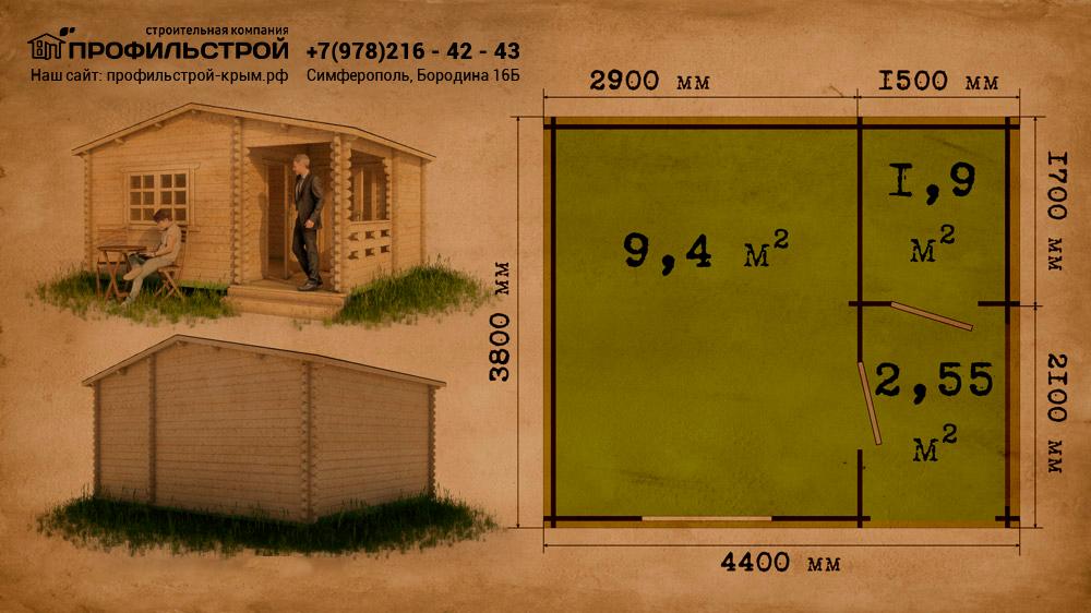 Садовый домик 4.4х3.8 с верандой
