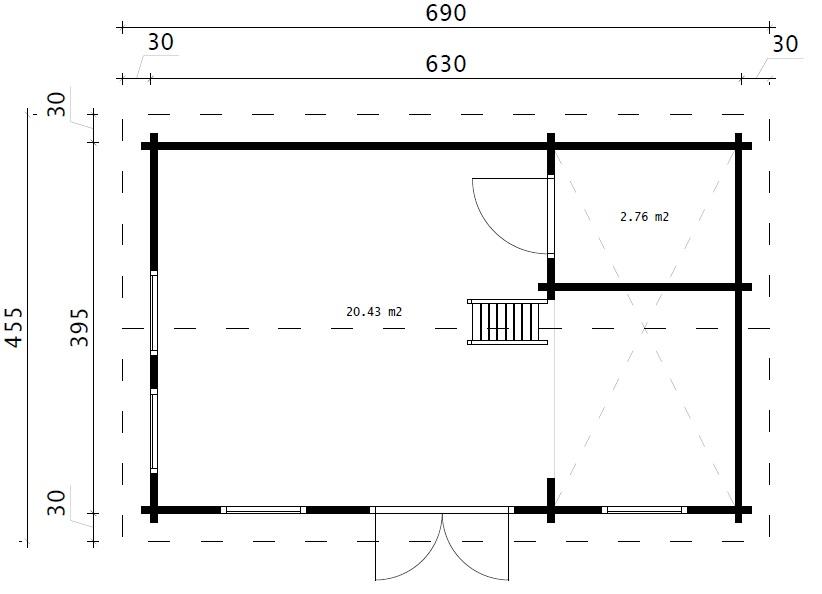 Дом со спальным лофтом SCHWEDEN B