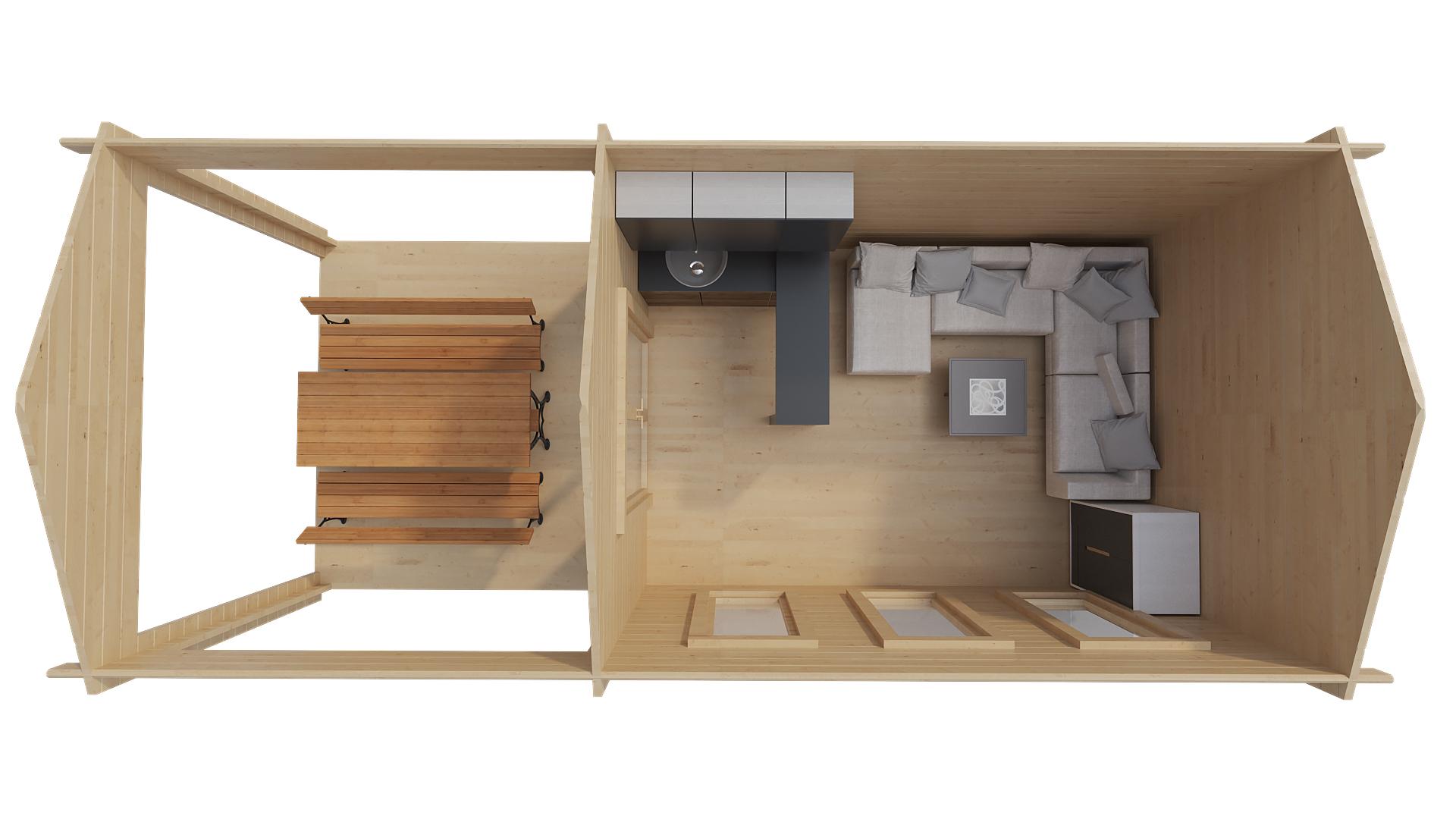Классический домик с навесом EVA E