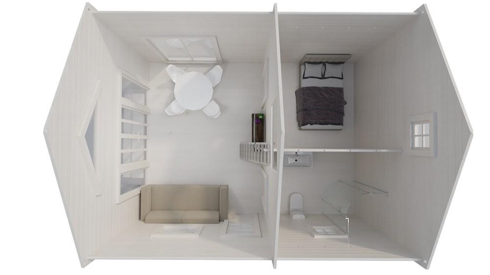 Дачный дом EVA со спальным лофтом